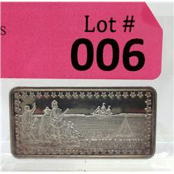 """1 Oz.  .999 Fine Silver """"Pilgrim's Landing"""" Art Bar"""