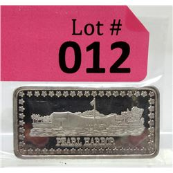 "1 Oz.  .999 Fine Silver ""Pearl Harbor"" Art Bar"
