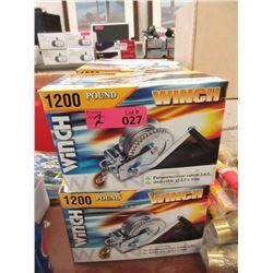 2 New 1200 LB Hand Crank Winches