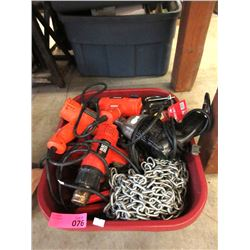 Box of Power Tools. C-Clamps, Chain & More