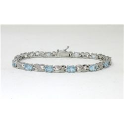 Blue Topaz & Diamond Tennis Bracelet
