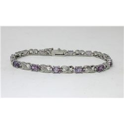 Ladies Amethyst & Diamond Tennis Bracelet