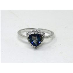 Ocean Blue Mystic Topaz & Diamond Solitaire Ring