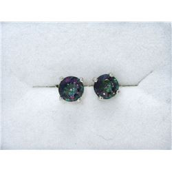New 2 CT Mystic Topaz Sterling Silver Earrings
