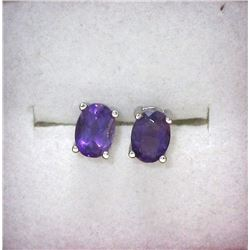 New 1.7 CT Oval Amethyst Sterling Silver Earrings