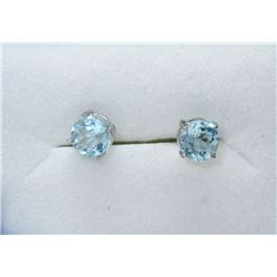 New 2.5 CT Blue Topaz Sterling Silver Earrings