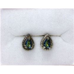 New Ocean Blue Mystic Topaz & Diamond Earrings