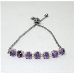 Amethyst Tennis Bracelet Set with 7 Cabochons