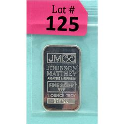 1 Oz. Johnson Matthey .999 Fine Silver Bar