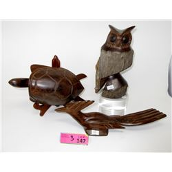 Carved Wood Owl , Turtle, & Road Runner Statues