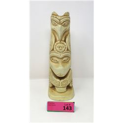 Vintage Hand Carved Wood Totem -Original Paint