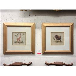 Well Framed Elephant and Giraffe Prints