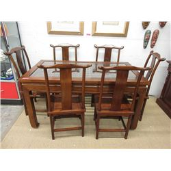 Indonesian Mahogany Dining Table with 6 Chairs