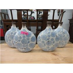 """4 New Glazed Pottery Vases - 13"""" Tall x 11"""" Wide"""