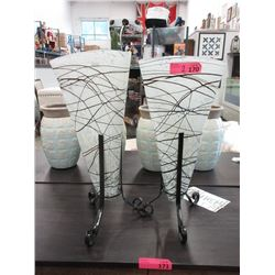 2 Art Glass Vases on Metal Stands