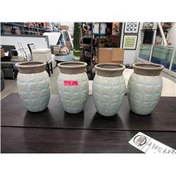"4 New Glazed Pottery Vases-11"" Tall x 8"" Diameter"