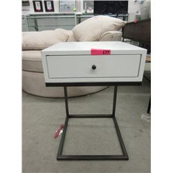 New Metal Framed White End Table with Drawer