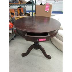 Round Mahogany Tripod Table with Drawer