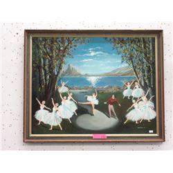 1977 Warburton Painting of The Swan Lake Ballet