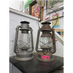 2 Vintage Barn Lanterns - Glass is damaged in one