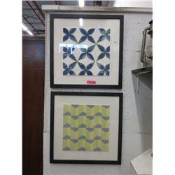 """2 Framed Geometric Prints - 24"""" x 24"""" Framed"""