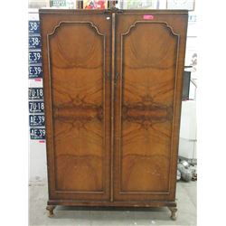 Vintage Burl Walnut Double Door Wardrobe