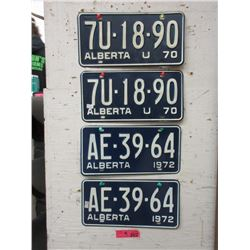 2 Pairs of 1972 Alberta License Plates