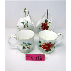 "4 Royal Albert ""Poinsettia"" Bone China Mugs"