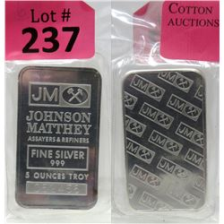 5 Oz Johnson Matthey .999 Silver Bar