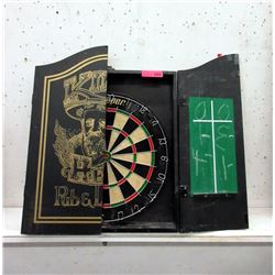 Dart Board in Wood Case