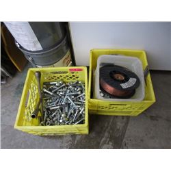 2 Crates of Large Bolts Assorted Wire & More
