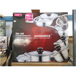 New 16 Piece Stainless Steel Cookware Set