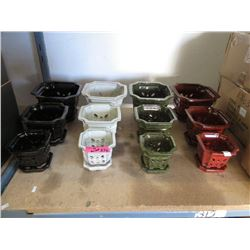 Case of 4 New 3 Piece Planter Sets w/ Drip Trays