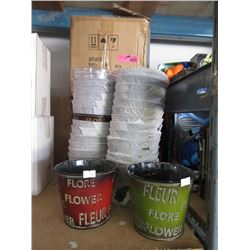 4 Cases of New Metal Plant Pots
