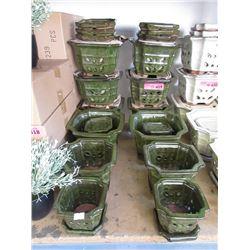 4 New Green 3 Piece Ceramic Plant Pot Sets