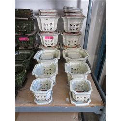 4 New White 3 Piece Ceramic Plant Pot Sets