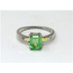 Vintage Sterling Silver Uranium Crystal Ring