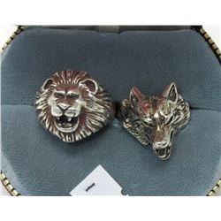 Vintage Sterling Silver Lion and Wolf Rings