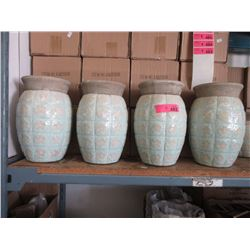 "4 New Glazed Pottery Vases-11"" Tall x 8"" Diameter"