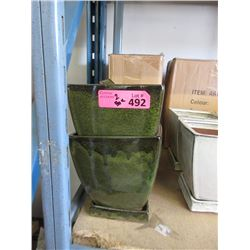 2 Cases of 8 New Green Glazed Pottery Planters