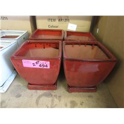 2 Cases of 8 New Red Glazed Pottery Planters