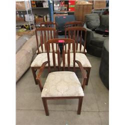 5 Oak Framed Dining Chairs with Upholstered Seats