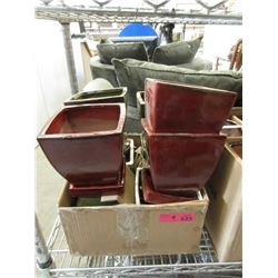 9 New Glazed Pottery Plant Pots with Trays