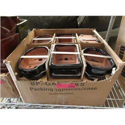 Case of 18 New Glazed Pottery Bonsai Pots