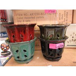 2 Sets of 4 New Glazed Pottery Plant Pots