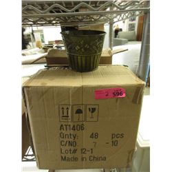 2 Cases of 48 New Metal Plant Pots