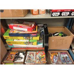 Shelf Lot of Assorted Toys & Beverage Bottles
