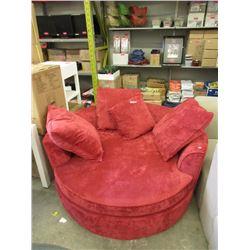 New 5 Foot Round Red Cuddler Chair