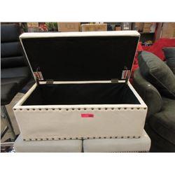 "Beige Fabric Storage Ottoman - 16"" x 32"" x 15"" t"