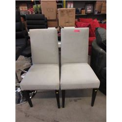 2 Grey Fabric Upholstered Dining Chairs
